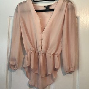 Pink Blouse with Cinched Waist